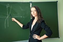 Woman showing graph Royalty Free Stock Photography