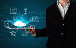 Woman showing hand drawn cloud computing Royalty Free Stock Image