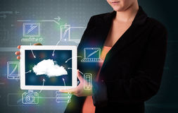 Woman showing hand drawn cloud computing Royalty Free Stock Images