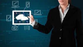 Woman showing hand drawn cloud computing Stock Photo