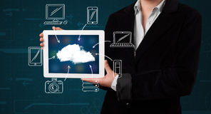 Woman showing hand drawn cloud computing Royalty Free Stock Photography