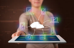 Woman showing hand drawn cloud computing Stock Photos