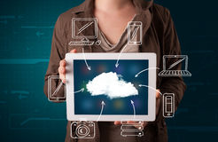 Woman showing hand drawn cloud computing Stock Image