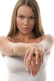 Woman showing hands Stock Photography