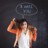 Woman showing hate Royalty Free Stock Photo