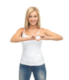Woman showing heart shape Stock Photography