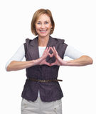 Woman showing heart symbol - White background Royalty Free Stock Image