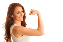 Woman showing her arm as a gesture for strrength Royalty Free Stock Photography