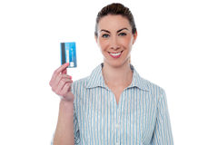 Woman showing her atm card Stock Photos