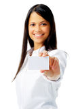 Woman showing her business identity Royalty Free Stock Photography