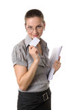 Woman showing her bussiness card Royalty Free Stock Photo