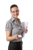Woman showing her bussiness card Stock Photos