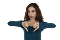 Woman showing her disapproval with thumbs down Royalty Free Stock Image