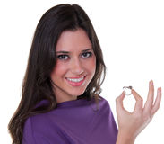Woman showing her engagement ring Royalty Free Stock Photography