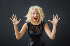 Woman showing her excitement Stock Photo