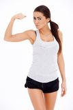 Woman showing her muscle stock images