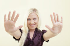 Woman showing her palms Royalty Free Stock Photo