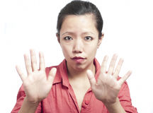 Woman Showing her Palms Stock Image