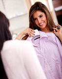 Woman showing her purchases Stock Images