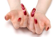 Woman showing her red nails Royalty Free Stock Image