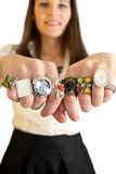 Woman showing her rings. Woman showing two hands full of rings Stock Photos