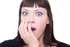 Woman showing her surprise. Portrait of Beautiful young woman showing her surprise Stock Image