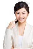 Woman showing her teeth stock photo
