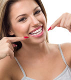Woman showing her white teeth Royalty Free Stock Photo