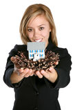 Woman Showing Home in Nest Royalty Free Stock Photos