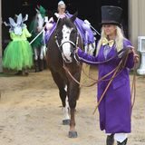 Woman Showing Horse - Walworth County Fair. A woman dressed in a purple outfit with a yellow bow tie and a black top hat shows her horse at the Walworth County stock photos