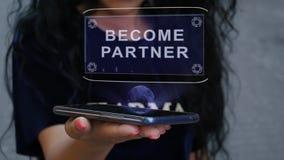 Woman showing HUD hologram Become partner