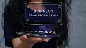 Woman showing HUD hologram Business Transformation