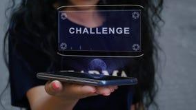 Woman showing HUD hologram Challenge