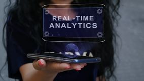 Woman showing HUD hologram Real-time analytics