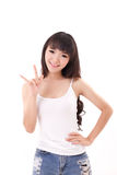 Woman showing I love you hand gesture royalty free stock photo