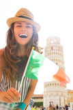 Woman showing italian flag in pisa, tuscany, italy Royalty Free Stock Image