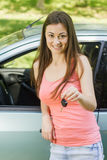 Woman showing keys of new car Royalty Free Stock Photography