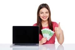 Woman showing  laptop screen Stock Photos