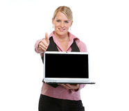 Woman with showing laptops and thumbs up Stock Photo