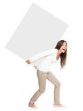 Woman Showing / Lifting Heavy Sign Stock Image