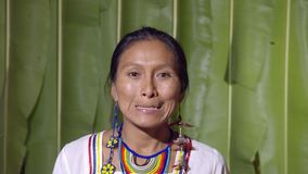 Woman Showing The Lower Teeth. Like In Front Of The Dentist In Ecuador stock video