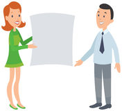 Woman showing man a large document. Stock Photography