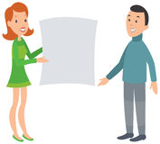 Woman showing man a large document. Stock Photo