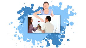 Woman showing a man offering a flower Stock Images