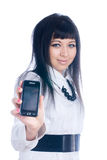 Woman showing mobile Stock Photography