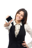 Woman Showing mobile cell phone. Young Woman Showing display of new touch mobile cell phone on a white background. Focus on hand with cellphone royalty free stock photos