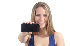 Woman showing a mobile phone screen Stock Images