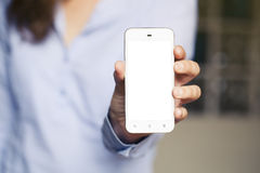 Woman showing mobile screen. Close up. Royalty Free Stock Photography