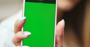 Woman showing mobile screen stock footage