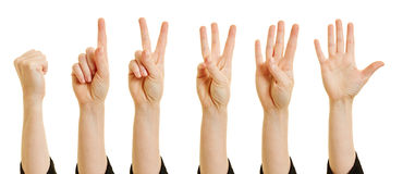 Woman showing numbers with fingers Stock Image